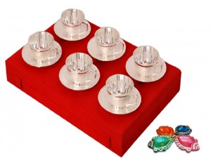 Diwali Gifts - Silver Plated Brass Tea Cup & Sacuer Set with 4 Colorful Diyas