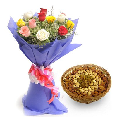 flowers with dryfruits