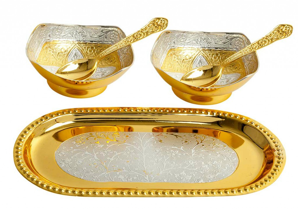 gold plated brass bowls tray spoons set