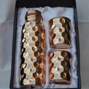 set of hammered copper water bottle and 2 glasses