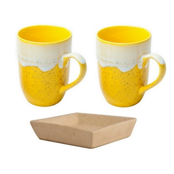 Set of 2 Yellow Mugs for Coffee & Milk with Tray