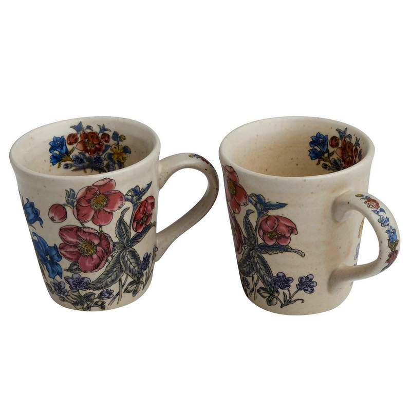 Set of 2 Floral Print Ceramic Milk/Coffee Mugs