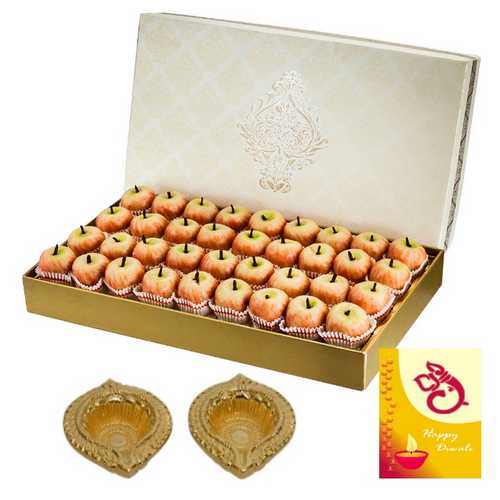 Kaju Apple Diwali Sweets 500g with 1 Diwali Card and 2 Diyas