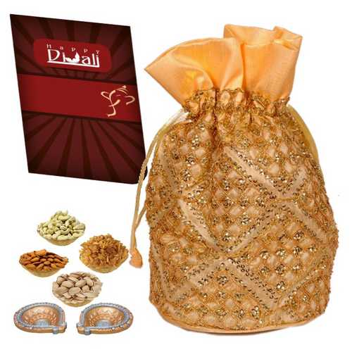 500g Mixed Dry Fruits Potali with 1 Diwali Card and 2 Diwali Diyas