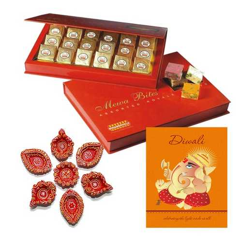 Mewa Bites with Card and 7 Diyas for Diwali