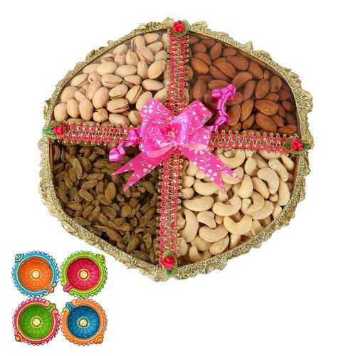 800g Dry Fruits Tokni with 4 Diyas for Diwali
