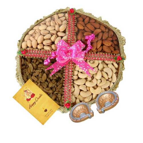 800g Dry Fruits Tokni with 1 Card and 2 Diyas for Diwali 2015