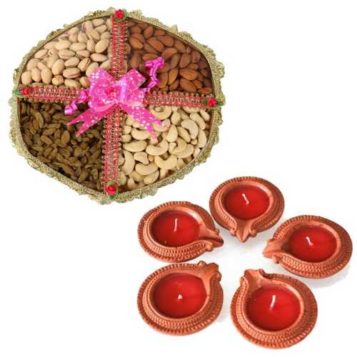 400g Mixed Dry Fruits Tokni with 5 Diyas for Diwali