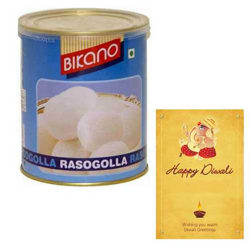 Bikano Rasogolla with 1 Diwali Card
