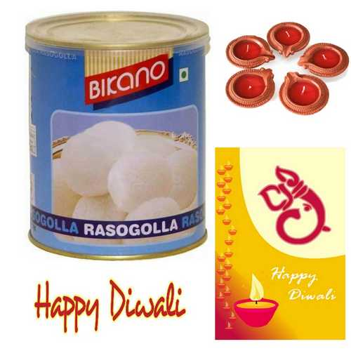 Bikano Rasgolla with 1 Diwali Card and 5 Decorated Diyas