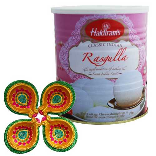 Haldiram's Rasgulla with 4 Decorated Diyas for Diwali