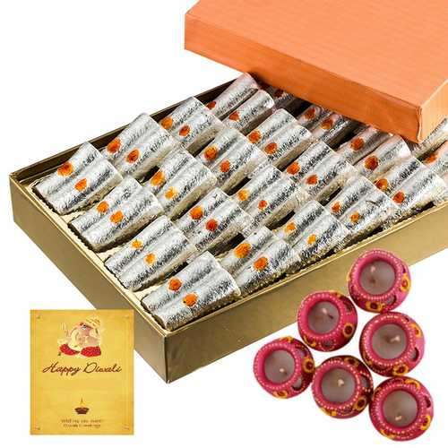 500g Kaju Roll with 1 Diwali Card and 6 Matki Diyas