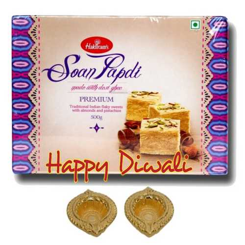 Haldiram's Soan Papdi 500g Pack with 2 Diyas for Diwali