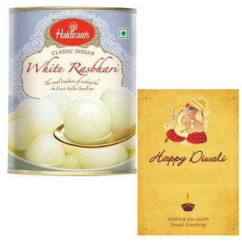 Haldiram's White Rasbhari with 1 Diwali Card