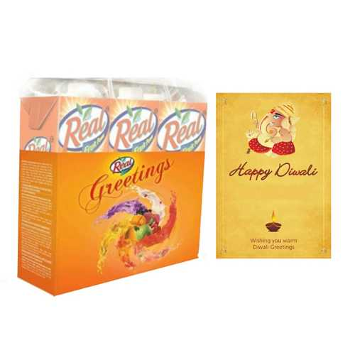 Diwali Gifts Hamper with Diwali Card and Juice