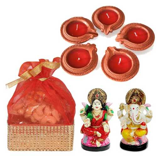 Laxmi and Ganesha Idols with Dryfruits Potali