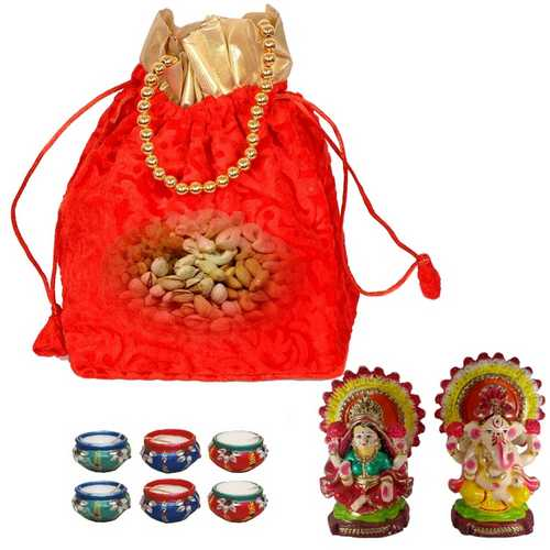 Mixed Dry Fruits in Red Potali n Laxmi Ganesh Idols