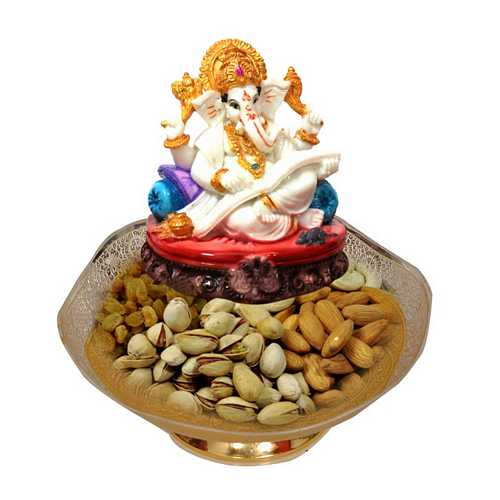 Gold Plated Bowl with Dry Fruits & Ganesha