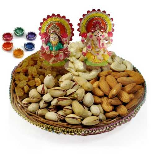 Mixed Dry Fruits Tokni with Laxmi Ganesh Idols