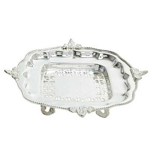 Silver Plated Pure Brass Tray for Diwali and Dhanteras Shopping