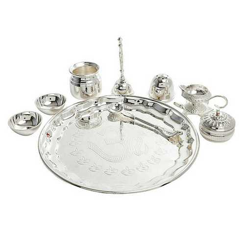 Silver Plated Brass Pooja Thali Set for Diwali Gift
