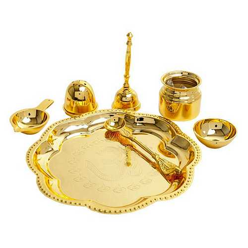 Gold Plated Brass Diwali Pooja Thali Set