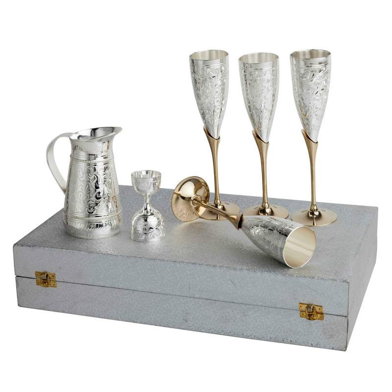 Silver Plated Pure Brass Wine Set