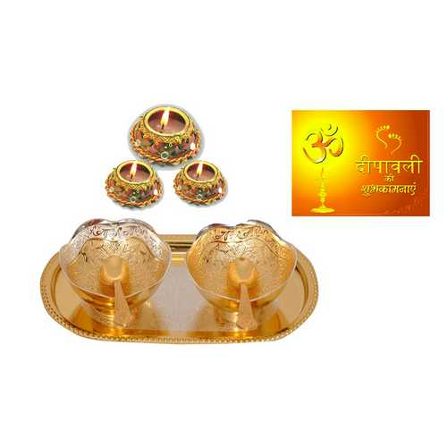 Diwali Gift - Golden & Silver Plated Brass Bowl Set with 3 Matki Diwali Diyas