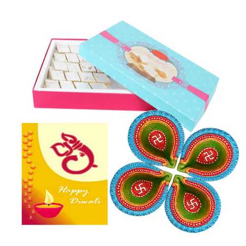 Kaju Katli 200g for Diwali with Diwali Card and 4 Diyas