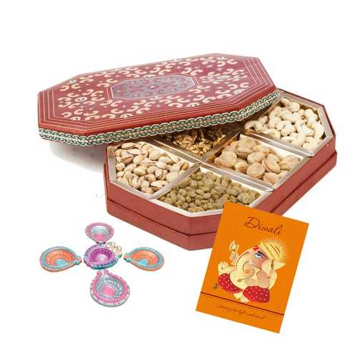 600g Mixed Dry Fruits Box with Diwali Card and 5 Diyas