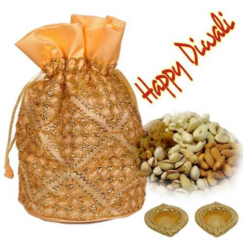 Mixed Dry Fruits Potali with 2 Decorated Diwali Diyas