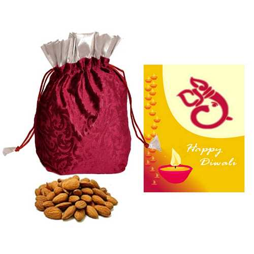 250g Almond Potali with 1 Diwali Card