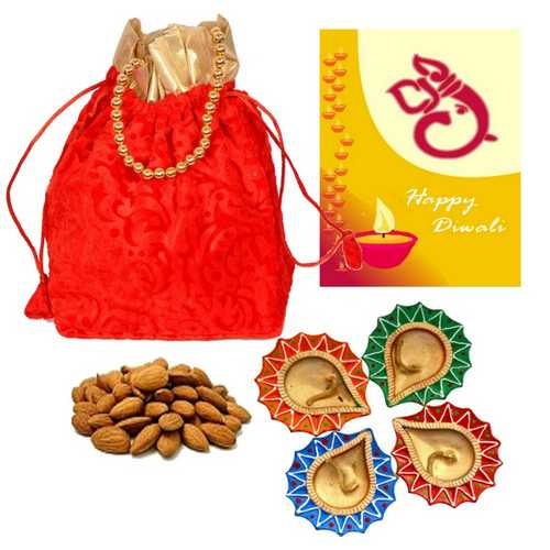 250g Almond Potali with 1 Diwali Card and 4 Diyas