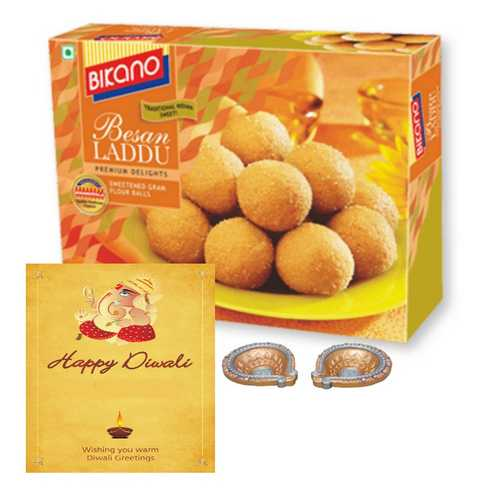 500g Bikano Besan Laddu with Diwali Card & 2 Diyas