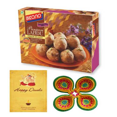 Bikano Panjiri Laddu 250g with 1 Diwali Card & 4 Diyas