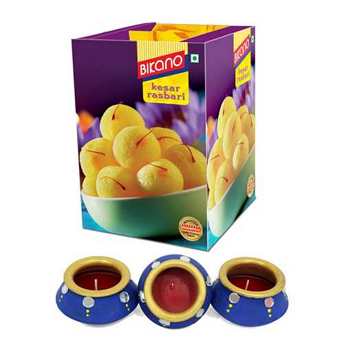 Bikano Kesar Rasbhari with 3 Matki Diyas for Diwali