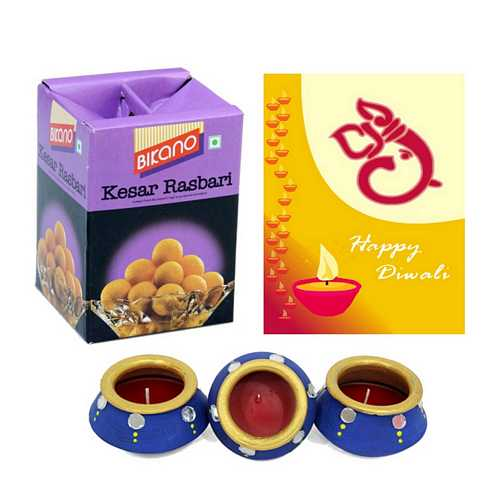 Bikano Kesar Rasbhari with 1 Diwali Card and 3 Matki Diyas