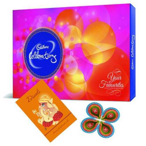 Cadbury Celebrations with 1 Diwali Card and 4 Diyas