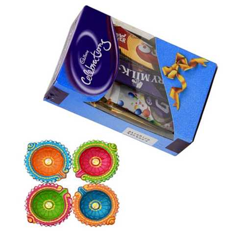 Choco Celebrations with 4 Decorated Diwali Diyas