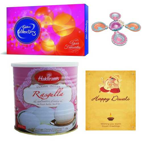 Haldiram's Rasgulla & Cadbury Celebrations with Diwali Card & 5 Diyas