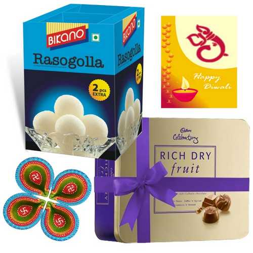 Rasogolla and Rich Dry Fruit Collection with 1 Diwali Card and 4 Diyas