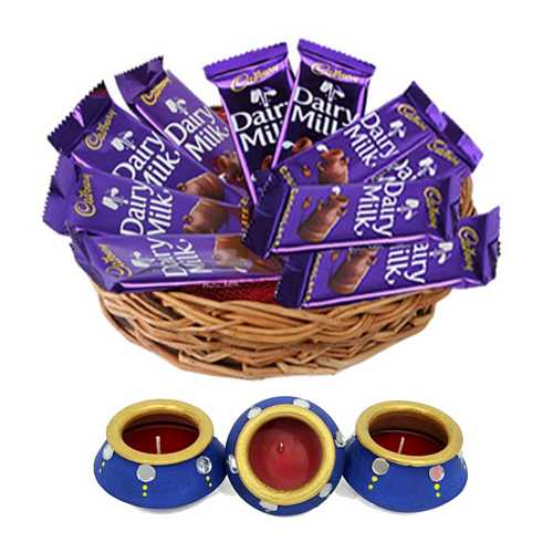 10 Dairy Milk Chocolates with 3 Matki Diyas for Diwali