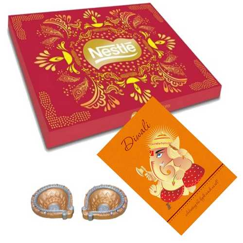 Nestle Assorted Delights with 2 Diwali Diyas and 1 Card