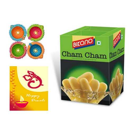 Bikano Cham Cham Diwali Sweets with 4 Diyas and 1 Card
