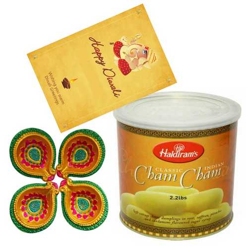 Haldiram's Chamcham with 4 Diyas and 1 Diwali Card