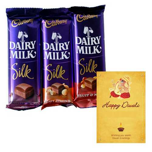 3 Dairy Milk Silk Chocolates for Diwali with 1 Diwali Card