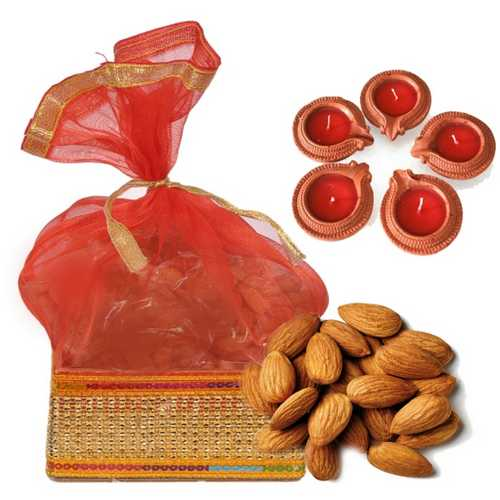 250g Almonds Potali with 5 Earthen Diyas for Diwali