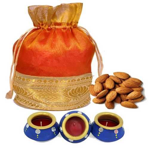 400g Almonds Potali with 3 Decorated Matki Diyas for Diwali