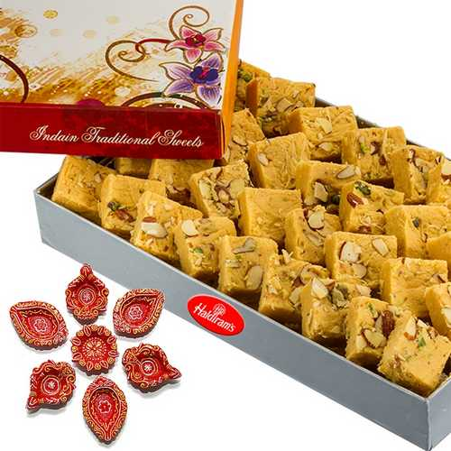 1 Kg Haldiram's Desi Ghee Patisha with 7 Decorated Diwali Diyas