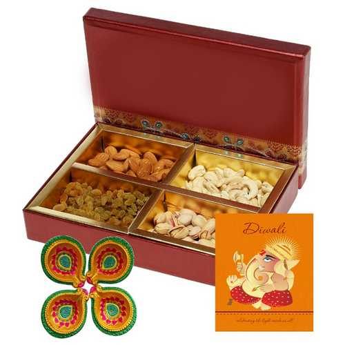 400g Mixed Dry Fruits Box with 1 Diwali Card and 4 Diyas